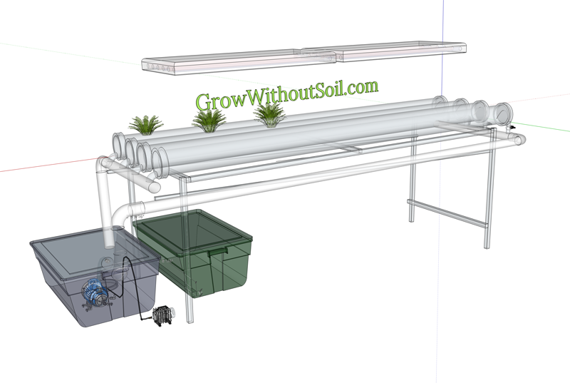 Nutrient Film Technique System with PVC pipe trays