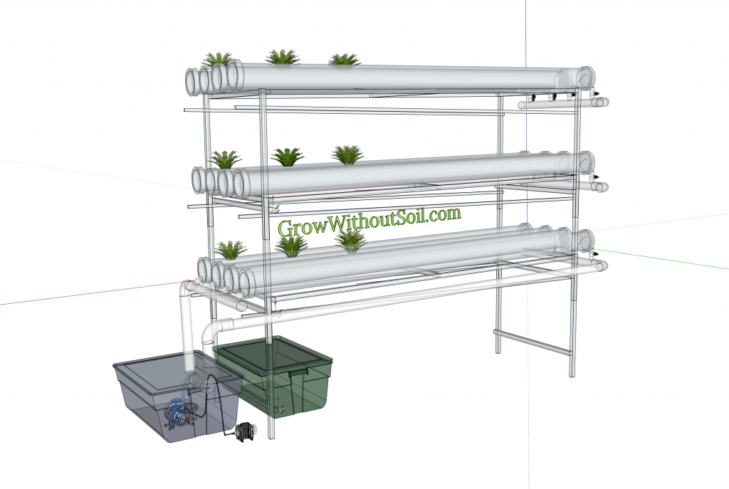 NFT system PVC pipes stacked 3d