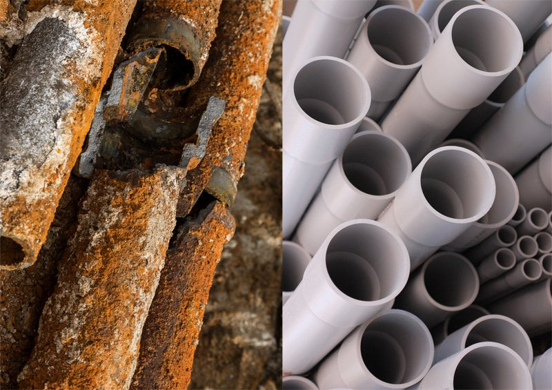 steel and pvc pipes