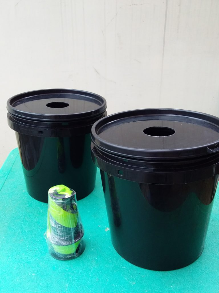 Buckets Prepped for Bubbleponics