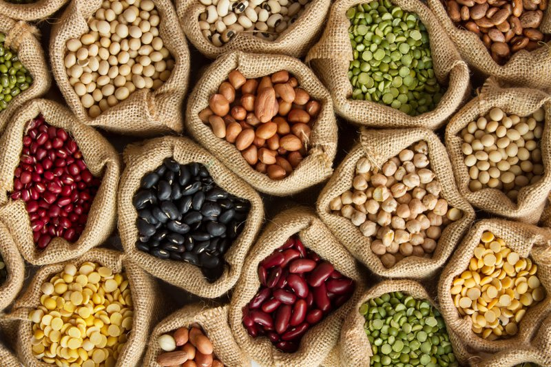Seeds in burlap bags