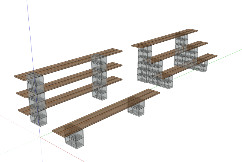 Tables with block and wood planks